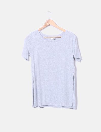Camiseta gris lisa manga corta
