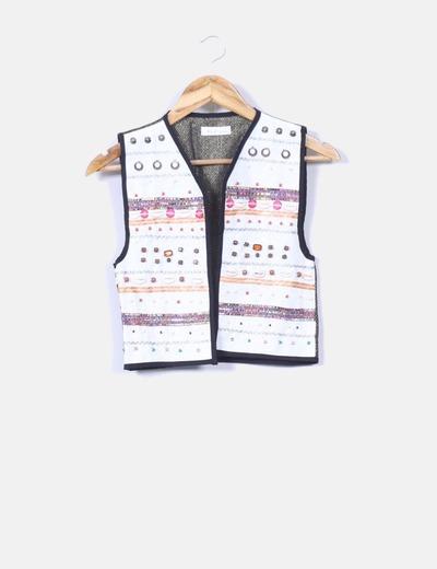Chaleco multicolor con abalorios en la parte delantera Nebbit clothes