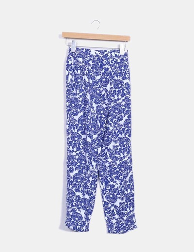 Pantalon baggy estampado azul