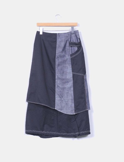 Falda midi combinada negra y vaquera