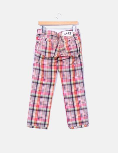 Pantalon lino recto de cuadros