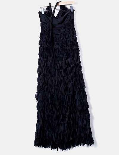 Vestido largo negro flecos