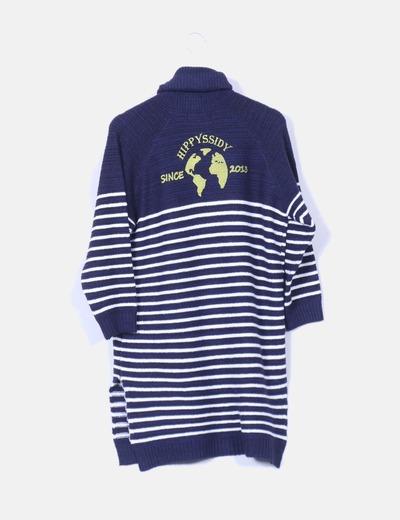 Vestido de lana navy print