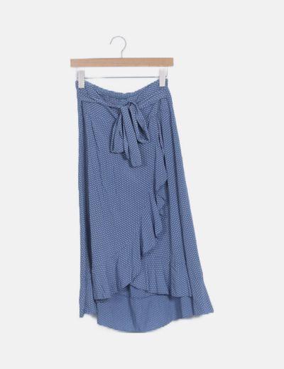 Falda azul motas volantes