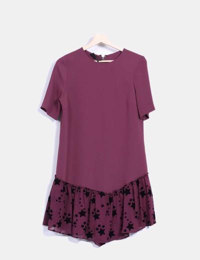Robe violette jupe avec volant en étoile Pinko