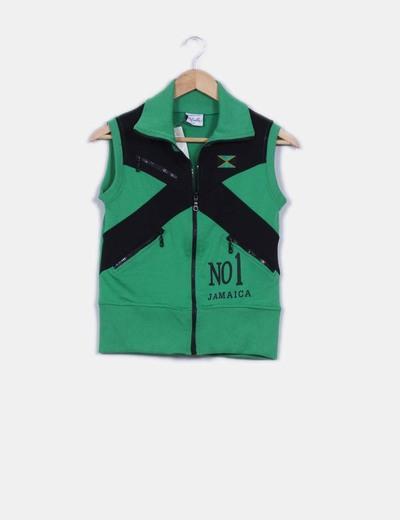 Sudadera verde y negra con cremallera sin mangas La Diabla