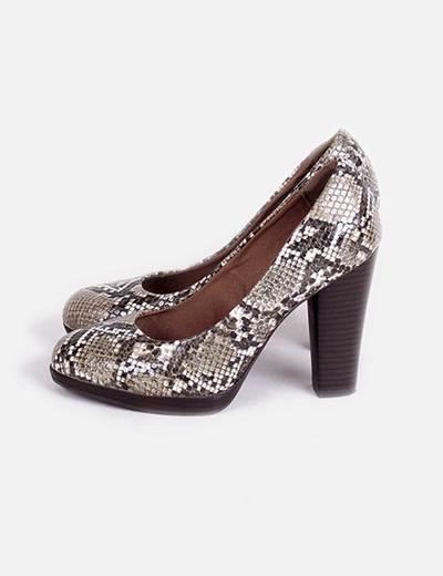 comprar popular f659f e2a61 Zapato print serpiente tacón grueso