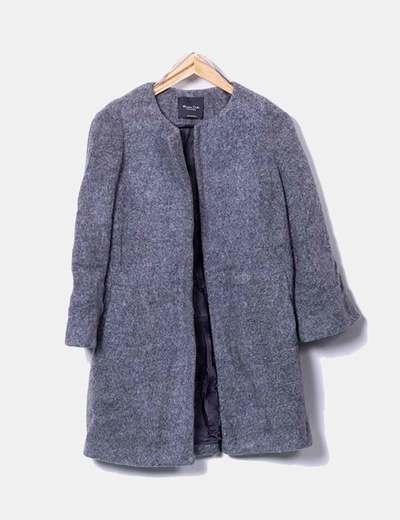 Abrigo de lana gris jaspeado Massimo Dutti