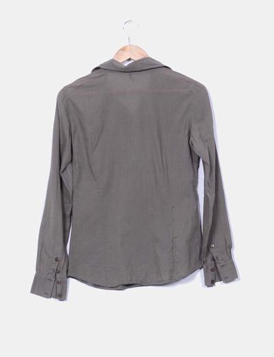 Camisa khaki manga larga