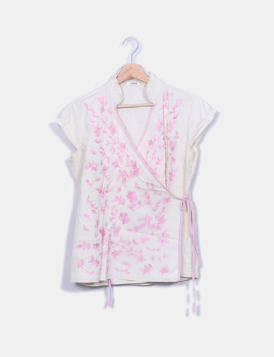 Camiseta beige bordado floral Tanna