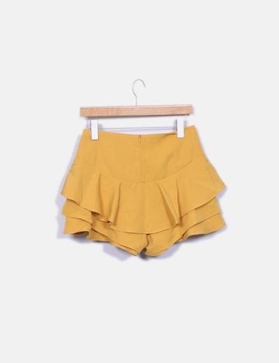 Falda pantalon volante mostaza
