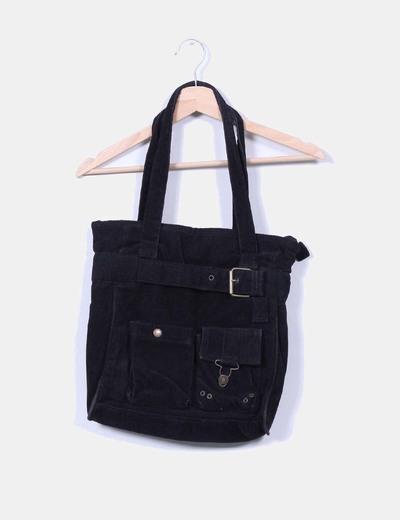 Bolso negro  de pana  NoName