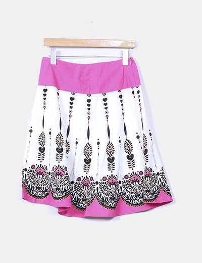 Falda midi rosa estampada Suiteblanco