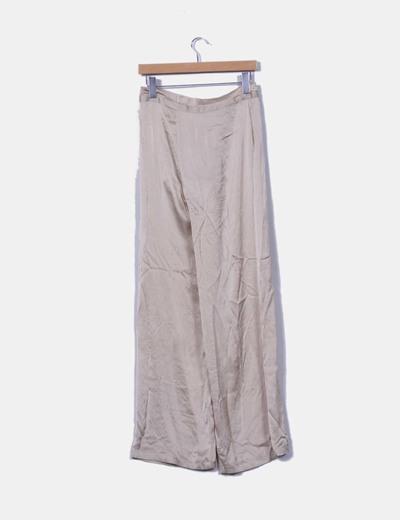 Pantalon beige de seda pata ancha