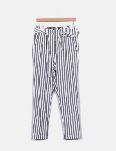 Pantalón rayas tiro alto Nümph
