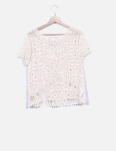 Blusa tricô bege Suiteblanco