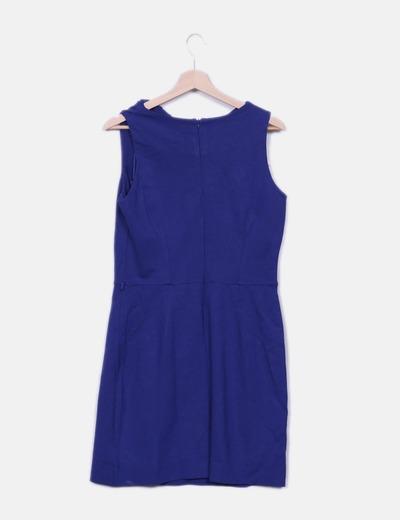 ea6c631a033f4 Mango Robe bleue midi avec corsage à volants (réduction 77%) - Micolet