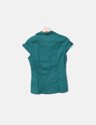 Camisa fluida verde sin mangas