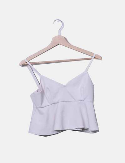 Crop top peplum crudo