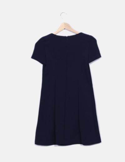 Vestido azul marino manga corta