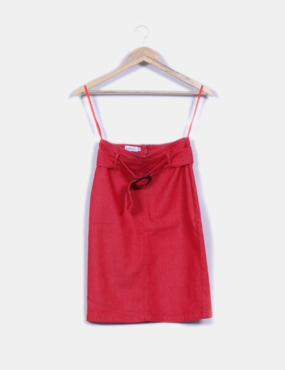 Falda midi roja efecto vaquero Suiteblanco