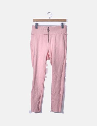 Legging rosa palo con cremallera