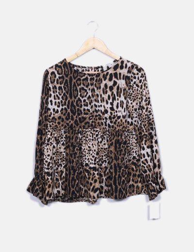 Blusa leopardo manga volante Armonias