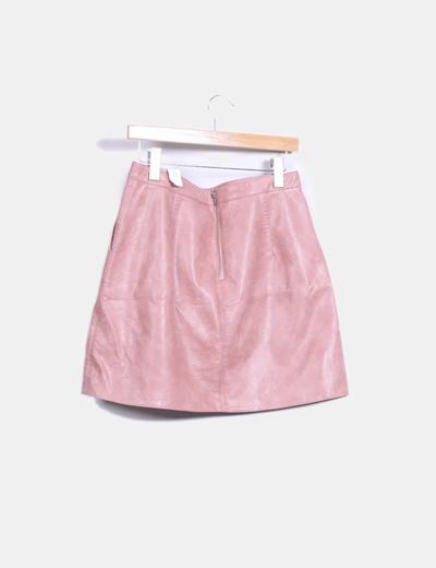 1db55e6868 Zara Mini falda rosa polipiel (descuento 65%) - Micolet