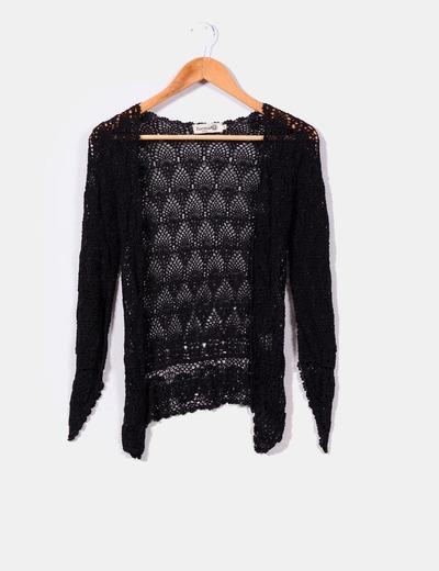 Chaqueta negra de crochet