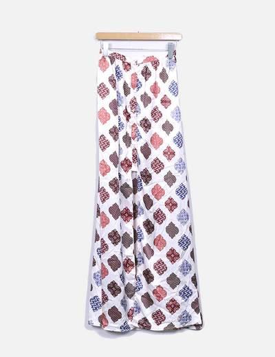 Maxi falda nude estampada con abertura Suiteblanco