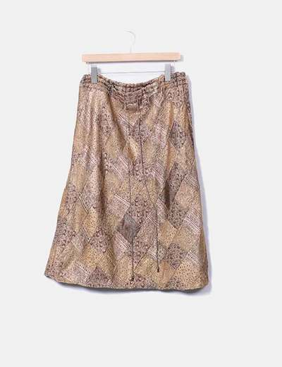 Saia midi estampada a ouro Zara