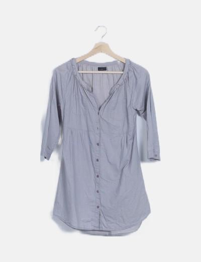 Vestido camisero gris de rayas