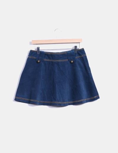 Mini falda terciopelo azul petroleo