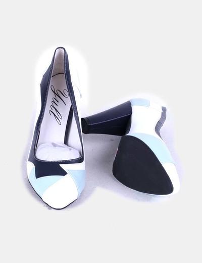 Zapatos heels primrose tricolor azul claro