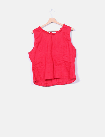 Blusa roja ribetes guipur