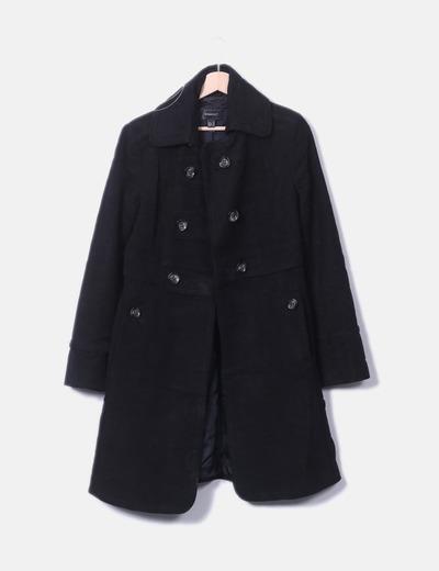 Abrigo negro doble botonadura Mango