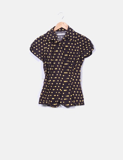 Camisa marrón topos amarillos Suiteblanco