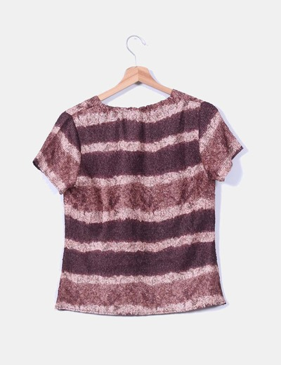 Camiseta marron rayas texturizada
