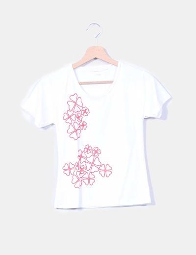Camiseta blanca manga corta print flores Charles