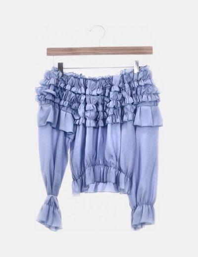 Blusa crop chorreras azules