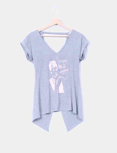 Camiseta gris print  S-Basic