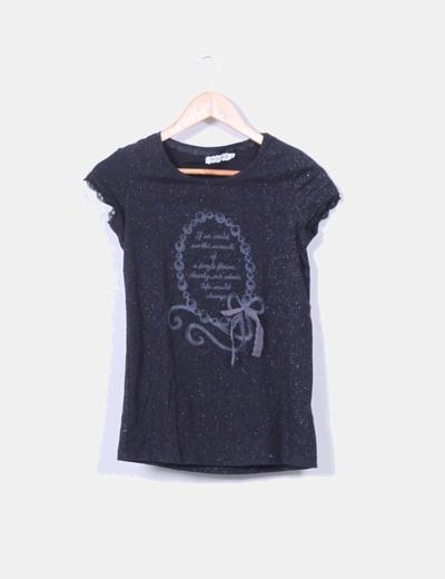 Camiseta negra glitter manga corta Bershka