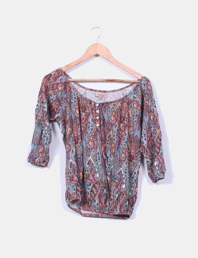 Blusa estampada multicolor Bershka