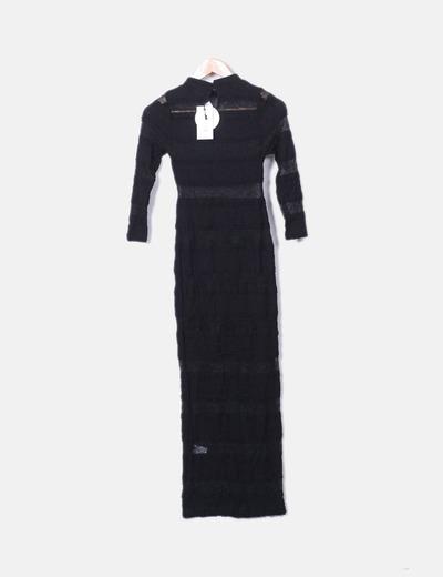 Vestido maxi encaje negro