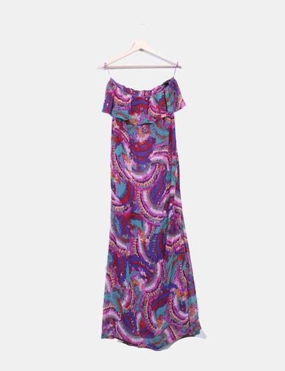 Maxi vestido estampado multicolor sin mangas Mango