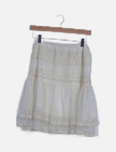 Falda beige tul crochet