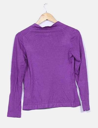 Jersey tricot morado escote redondo