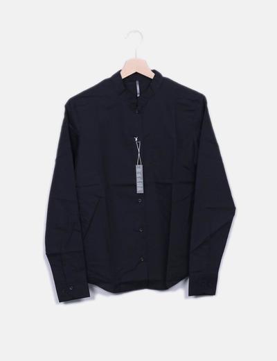 Camisa negra cuello mao KARIBAN