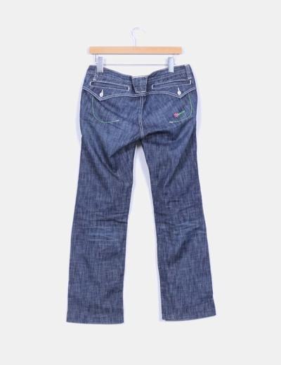 Jeans denim recto azul oscuro