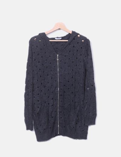 Jersey tricot gris troquelado